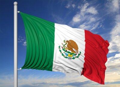 Obraz Waving banderą Meksyku na maszcie, na tle niebieskiego nieba.