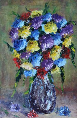 Obraz wazon z kwiatami, martwa natura