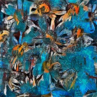 Obraz Wciąż życie bukiet stokrotki w błękitnej wazie. Wyraźne wykonanie pasty. Olej na płótnie z pastelowym malarstwa w nowoczesnym stylu.