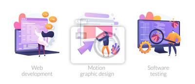 Obraz Website programming and coding. Computer animation designer. Bug fixing. Web development, motion graphic design, software testing metaphors. Vector isolated concept metaphor illustrations