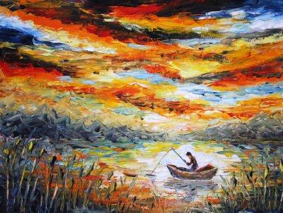 Obraz Wędkowanie, chmury, rzeki. zachód słońca, malarstwo. Szpatułka