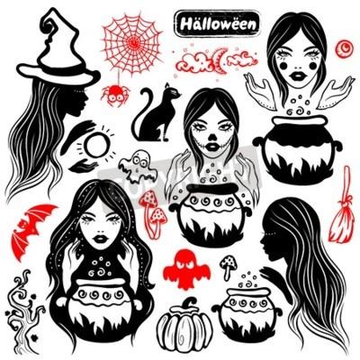 Obraz Wektor archiwalne Halloween zestaw ikon dla Twojego biznesu