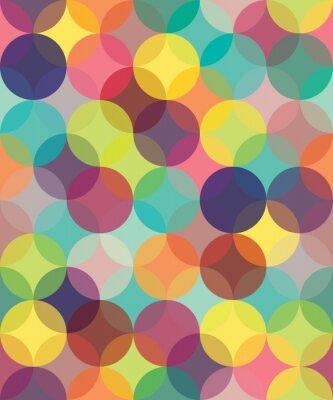 Obraz Wektor bez szwu kolorowe geometria nowoczesny wzór nakładających się okręgi, kolor abstrakcyjne geometryczne tło, tapeta druku, retro tekstury, projektowanie hipster mody,