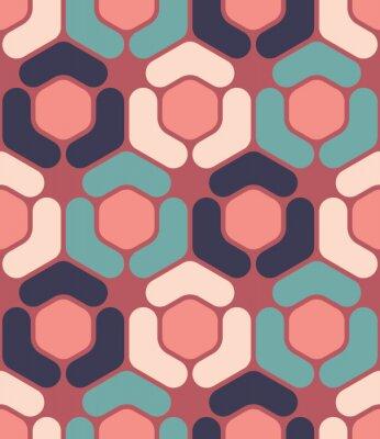 Obraz Wektor bez szwu kolorowy wzór nowoczesnej geometrii sześciokątne, kolor abstrakcyjne geometryczne tło, poduszka wielobarwny druk, retro tekstury, projektowanie mody hipster