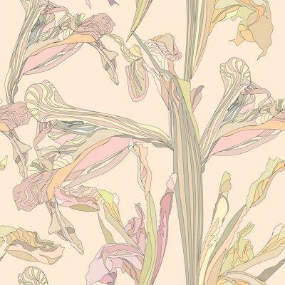 Obraz Wektor bez szwu tła delikatne kwiaty na beżowym tle irys