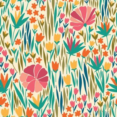 Obraz Wektor bez szwu z letnich kwiatów. Może być stosowany do tapety pulpitu lub ramki do powieszenia na ścianie lub plakat, na wypełnia wzór, powierzchni tekstury tła, strony internetowej, tekstylia i wie
