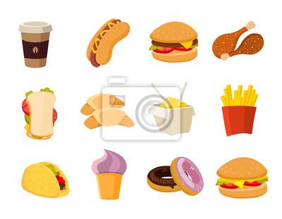 Obraz Wektor cartoon fast food collection