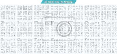 Obraz Wektor cienka linia mini, prosty zestaw ikon konspektu, siatka 25x25px Pixel perfect. Edytowalny obrys.