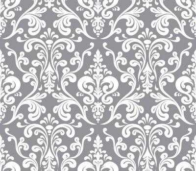 Obraz Wektor. Elegancki wzór bez szwu adamaszku. Szary i biały