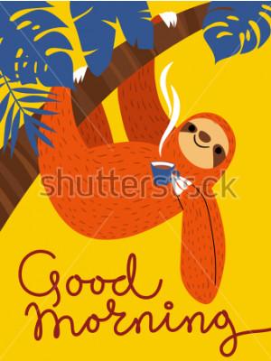Obraz Wektor karty z cute znak lenistwo i karty kawy. Dzień dobry plakat.