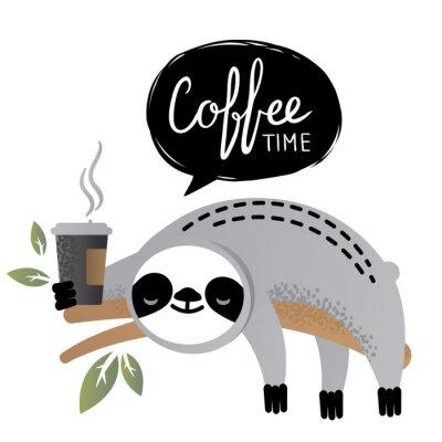 Obraz Wektor ładny lenistwo niedźwiedzia zwierząt z napisem kawy czasu.
