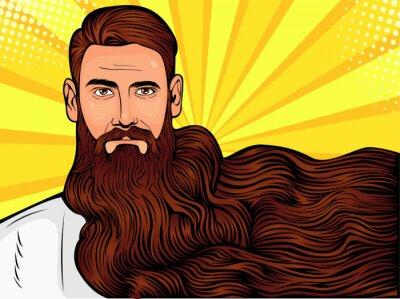 Obraz Wektor pop-art ilustracja brutalny brodaty mężczyzna, macho z bardzo długą brodą na wszystkie zdjęcia