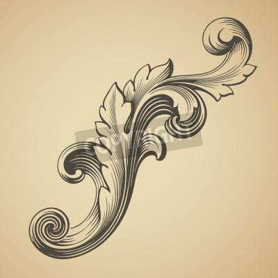 Obraz wektor rocznika elementem barokowa rama wzór grawerowanie stylu retro
