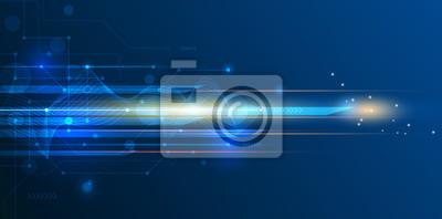 Obraz Wektor streszczenie, nauka, futurystyczny, technologia energetyczna koncepcja. Cyfrowy obraz promieni świetlnych, paski linie z niebieskiego światła, prędkość i rozmycia ruchu na ciemnym niebieskim tl