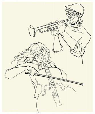 Obraz Wektor szkic musicants.