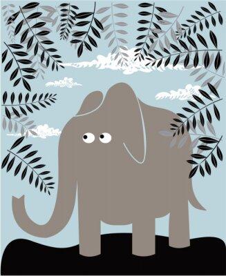 Obraz Wektor tła z liści i słonia