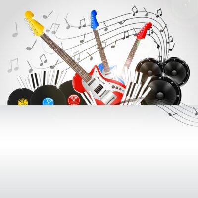 Obraz Wektor tło muzyczne z instrumentów i sprzętu muzycznego