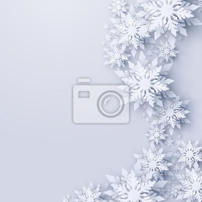 Obraz Wektor Wesołych Świąt i szczęśliwego nowego roku pozdrowienie projekt z białe realistyczne 3d warstwowe cięcia papieru płatki śniegu. Sezonowe święta Bożego Narodzenia i nowego roku tło papieru szablo