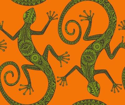 Obraz Wektor wyciągnąć rękę szwu z monochromatycznym jaszczurki lub sal