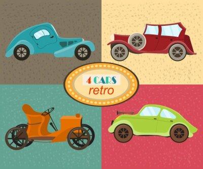 Obraz Wektor zestaw czterech retro samochodów. Miejskie pojazdy drogowe. Ikony wyposażone nowoczesne i retro samochodów, old fashioned rocznika samochodu. Wielobarwny retro samochodów. Odosobniony. ilustrac