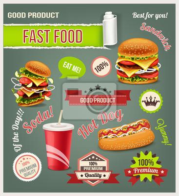 Obraz Wektor zestaw fast food