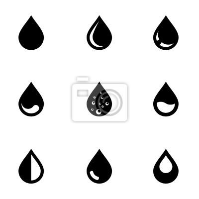 Obraz Wektor zestaw ikon czarnej listy rozwijanej. Spadek Ikona Object, Kropla Ikona Obraz, Kropla Ikona Image - Grafika wektorowa