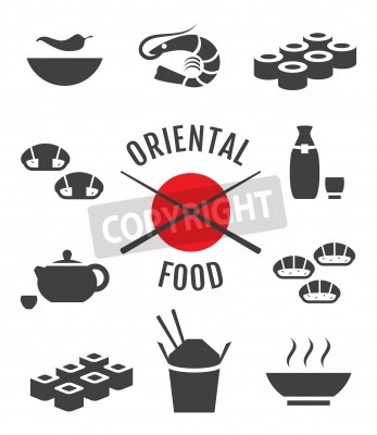 Obraz Wektor zestaw ikon orientalne japońskie żywności