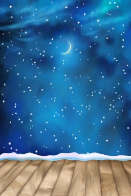 Obraz Wektor zimowe Nightly Chmury Tło