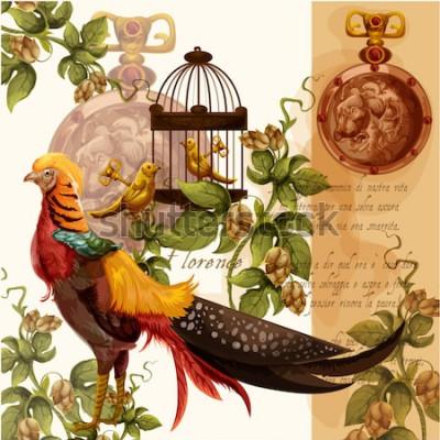 Obraz Wektorowa cyfrowa akwarela ilustracja z Florence lwem i bażantem idealnie nadaje się do wydruków tekstylnych i dekoracji