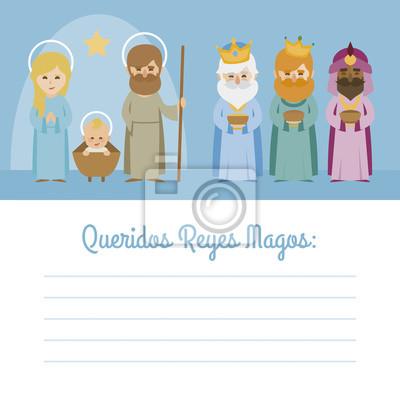 Obraz Wektorowy list z Boże Narodzenia Dzieciątka Jezus z Matką Boską, księdza Józefa i Trzech Króli Orient mędrców