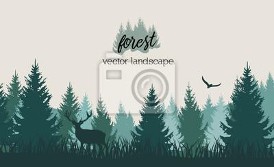 Obraz Wektorowy rocznika lasu krajobraz z błękitem i grees sylwetkami drzewa i dzikie zwierzęta