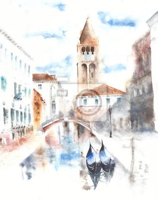 Wenecja akwarela ilustracja karty z pozdrowieniami handmade