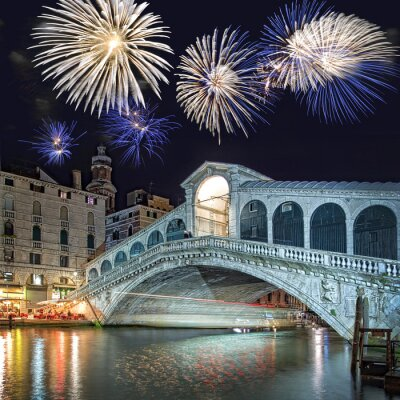 Obraz Wenecja, fajerwerki nad mostem Rialto w nocy
