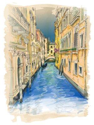 Obraz Wenecja - kanał wodny, stare budynki i gondola oddalony