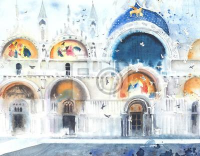 Wenecja San Marco kopuły akwarela ilustracja