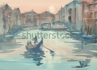 Obraz Wenecja szkic w porannej mgle akwarela pejzaż z gondolą