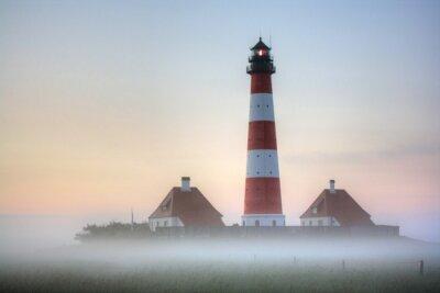 Obraz Westerhever latarni w mgle Sunrise