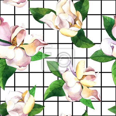 White flowers hand drawn seamless pattern. Gardenias on black and white geometric background. Magnolias, roses with green leaves watercolor texture. Botanic wrapping paper, floral wallpaper design