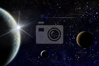 Obraz White sunrise or sunset over planet and two satellite with few flying ships in the space