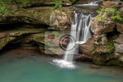 Whitewater and Sandstone - The Upper Falls at Old Man's Cave in Ohio's Hocking Hills State Park, splashes down a sandstone cliff on a rainy spring day.