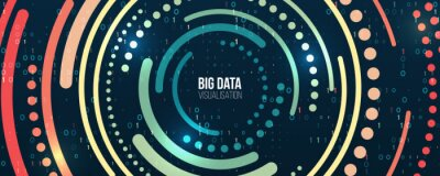 Obraz Wide Big data visualization. Information analytics concept. Abstract stream information with circles array and binary code. Filtering machine algorithms. Sorting data. Vector technology background.