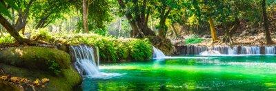 Obraz Wide panorama beautiful fresh green nature scenic landscape waterfall in deep tropical jungle rain forest, Famous landmark outdoor travel Saraburi Thailand, Spring background, Tourism destination Asia