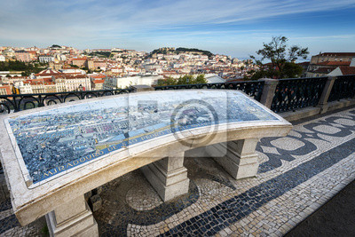 Widok na centrum Lizbony z punktu widzenia Sao Pedro de Alcantara
