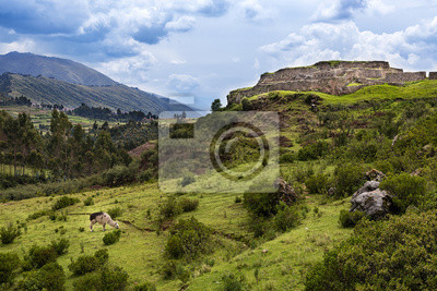 Widok na miejscu Pakapukara niedaleko Cusco, Peru