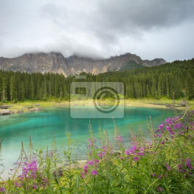 Widok na szmaragdowe jezioro z fioletowymi kwiatami we Włoszech