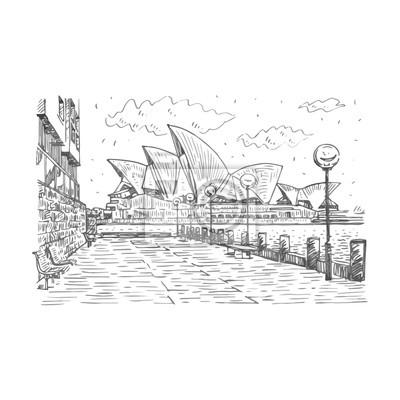 Obraz Widok z boku z Sydney Opera House w Sydney, Australia. Wektor odręczny szkic ołówkiem.