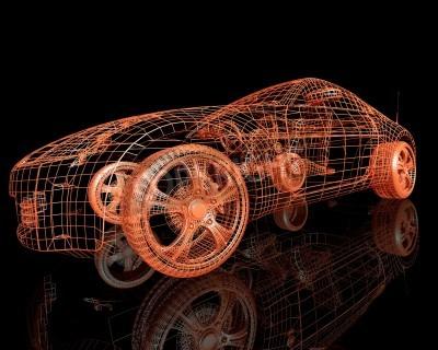 Obraz widok z przodu nowoczesnych modeli samochodów 3d render na czarnym tle