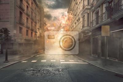Obraz Widok zniszczenia miasta z pożarami i wybuchem
