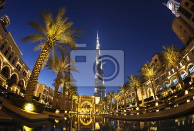 Obraz Wieczorny widok na centrum Dubaju z Burdż Chalifa w tle