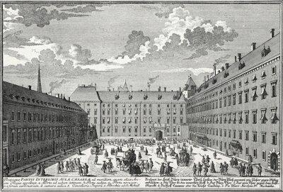 Obraz Wiedeń, Wewnętrzny dziedziniec wokół 1725, szablon miedzioryt